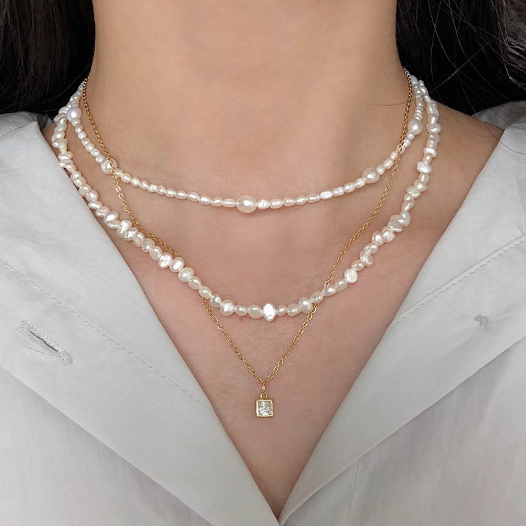 925silver 4mm unique fresh-water pearl necklace