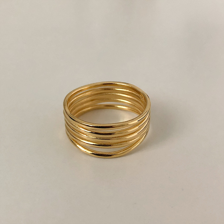 925silver 5 line point ring(2color)