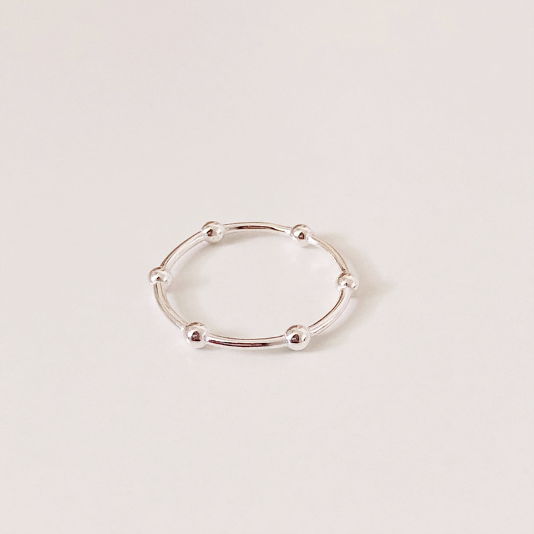925silver ball line ring