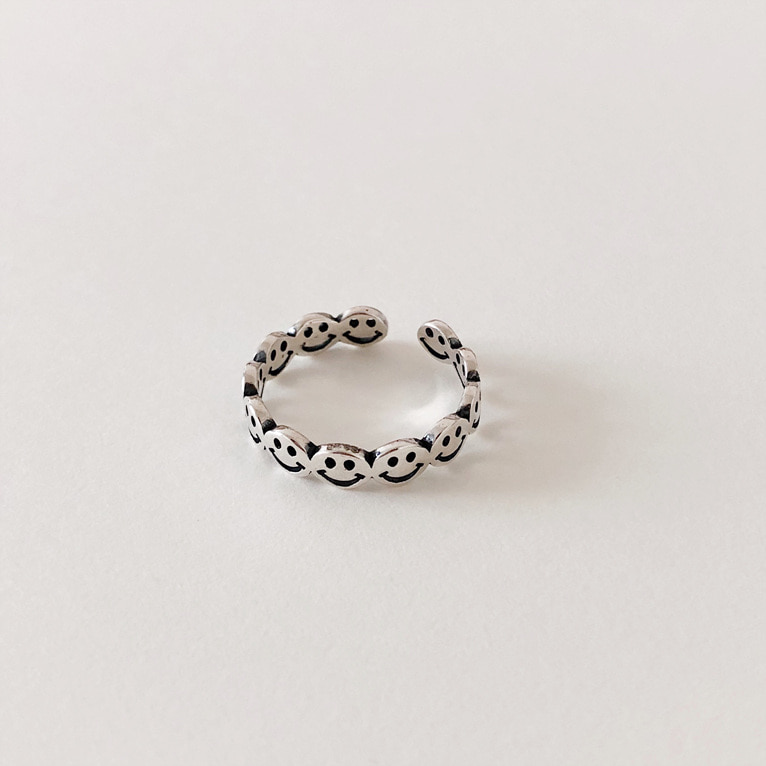 925silver smile baby open ring