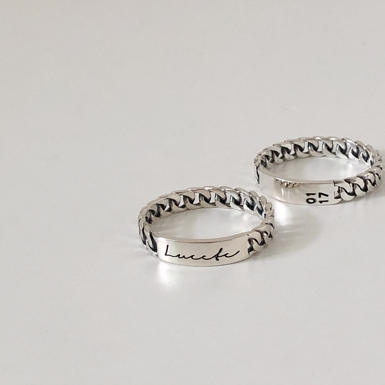 925silver 3mm black chain imprint ring