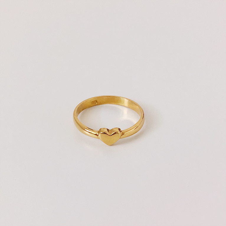 925silver flat heart ring