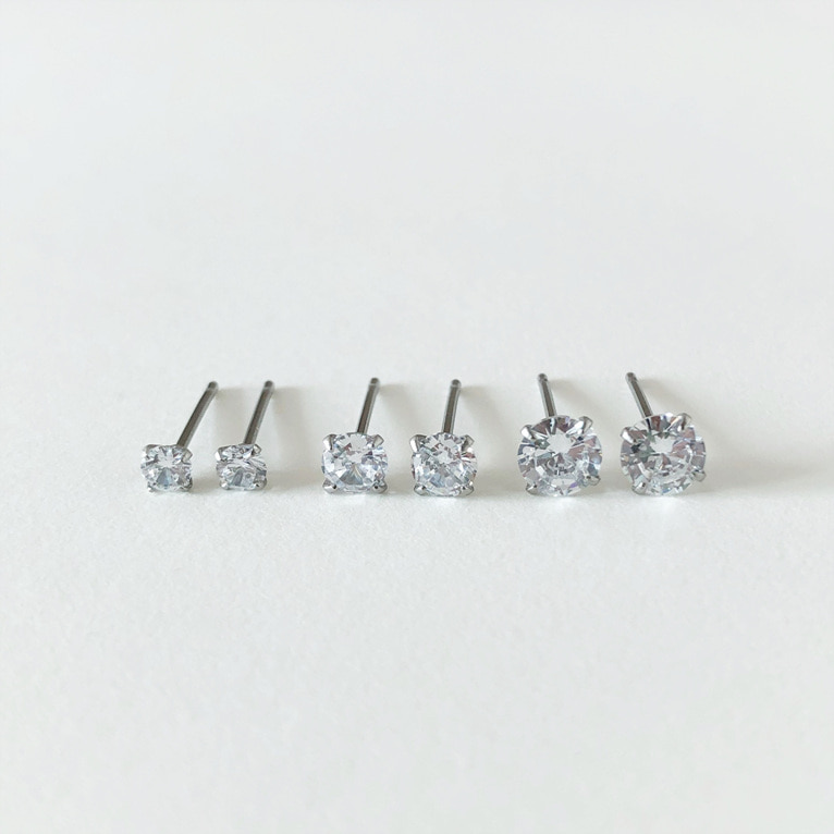 surgical steel cubic earring(3color/3size)