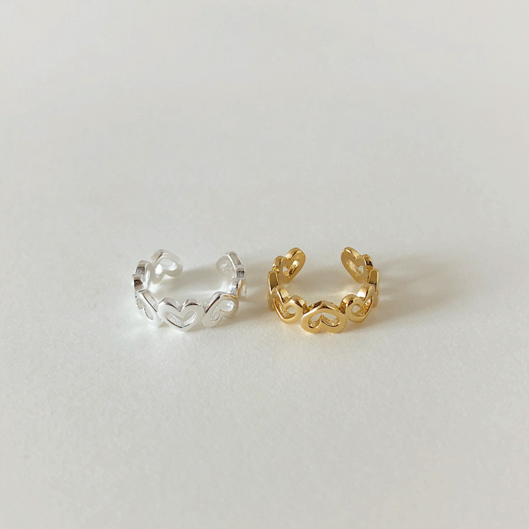 925silver mini line heart ear cuff(2color)