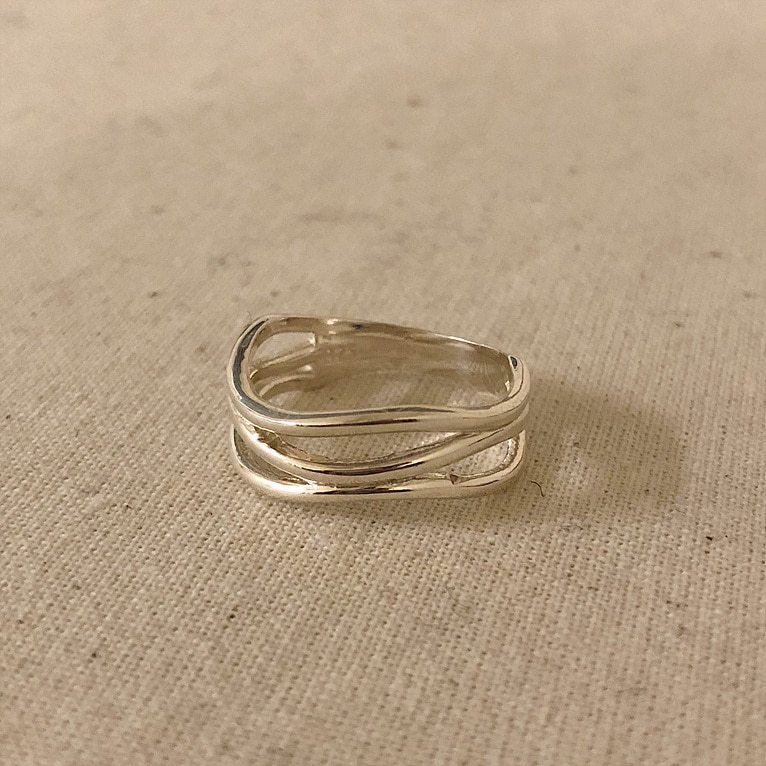 925silver 3 line wave ring(2color)