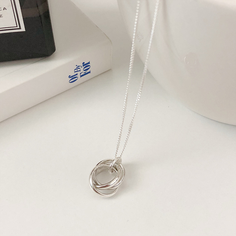 925silver 3 round ring necklace