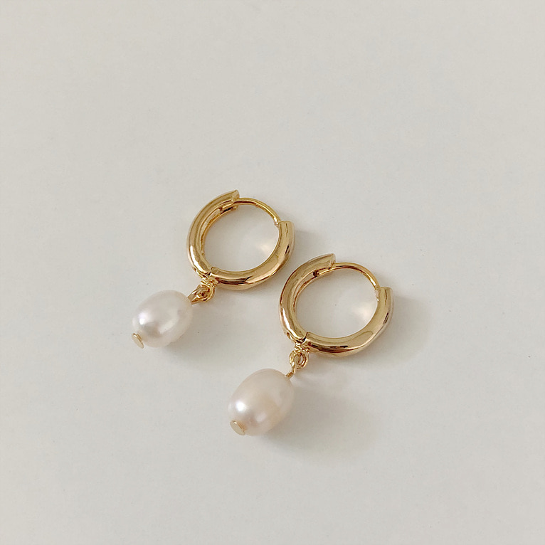 [자체제작] fresh-water drop ring earring