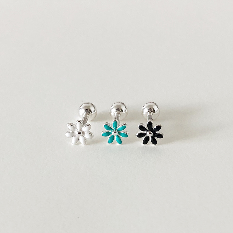 925silver white flower piercing(3color)
