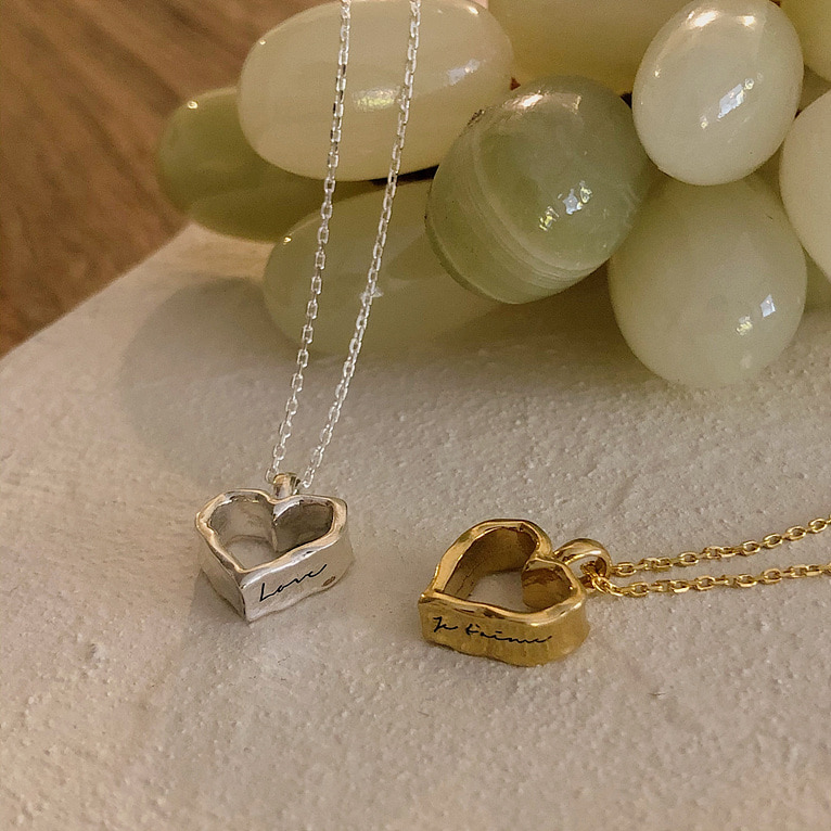 (각인 가능!) 925silver volume unique heart necklace(2color)