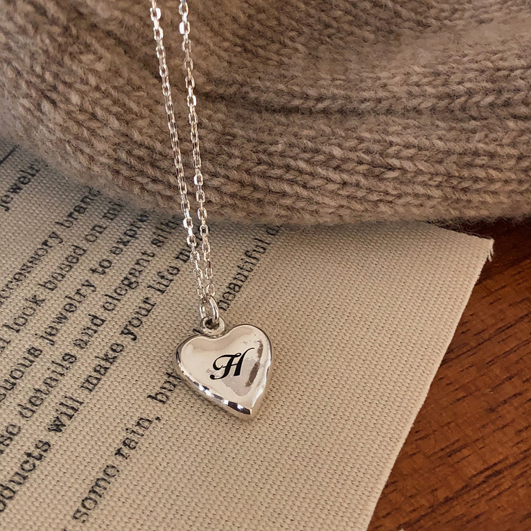 (각인 가능!) 925silver natural heart necklace(2color)
