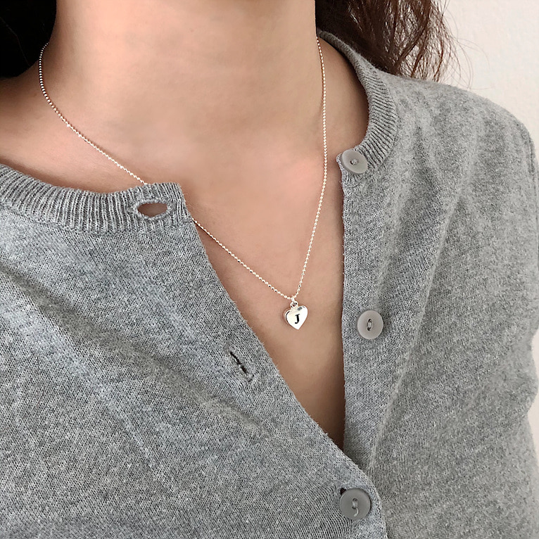 (이니셜 각인 무료!) 925silver heart ball chain initial necklace