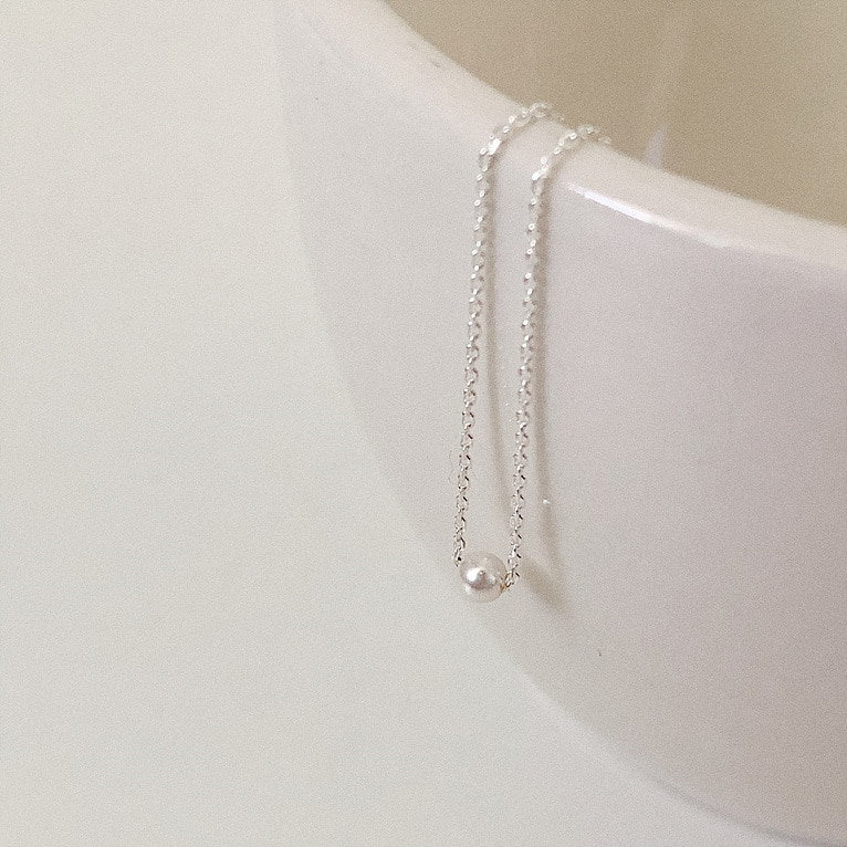 925silver 3mm pearl necklace