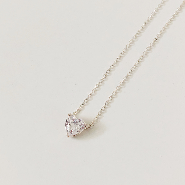 925silver heart cubic necklace