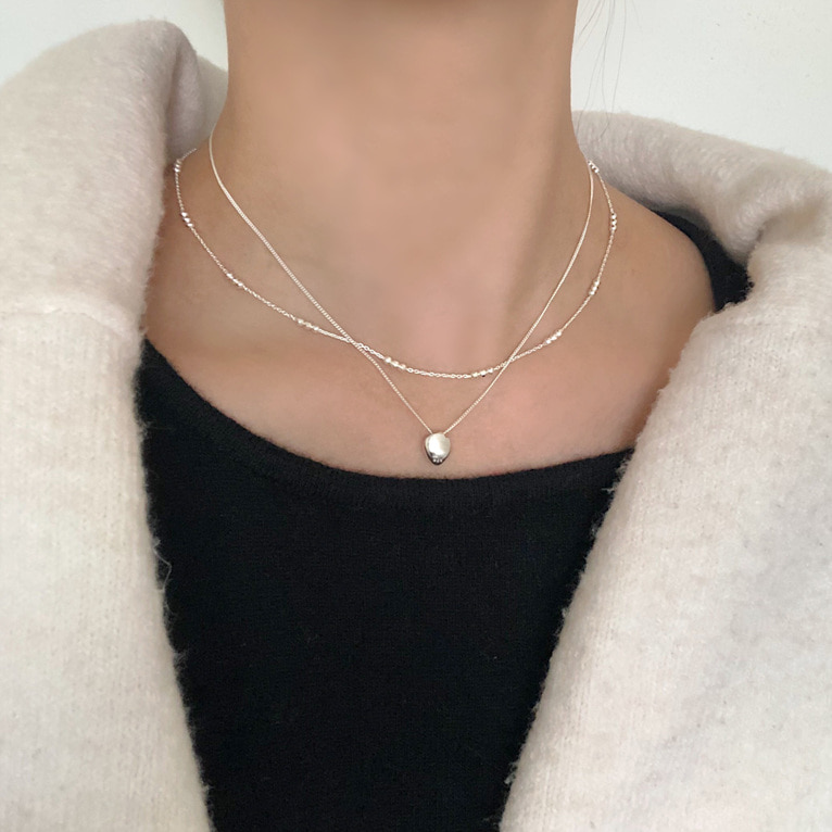 925silver silky chain stone necklace(2color)