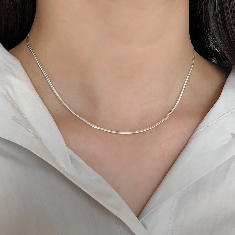 925silver 2mm silky necklace(2color)