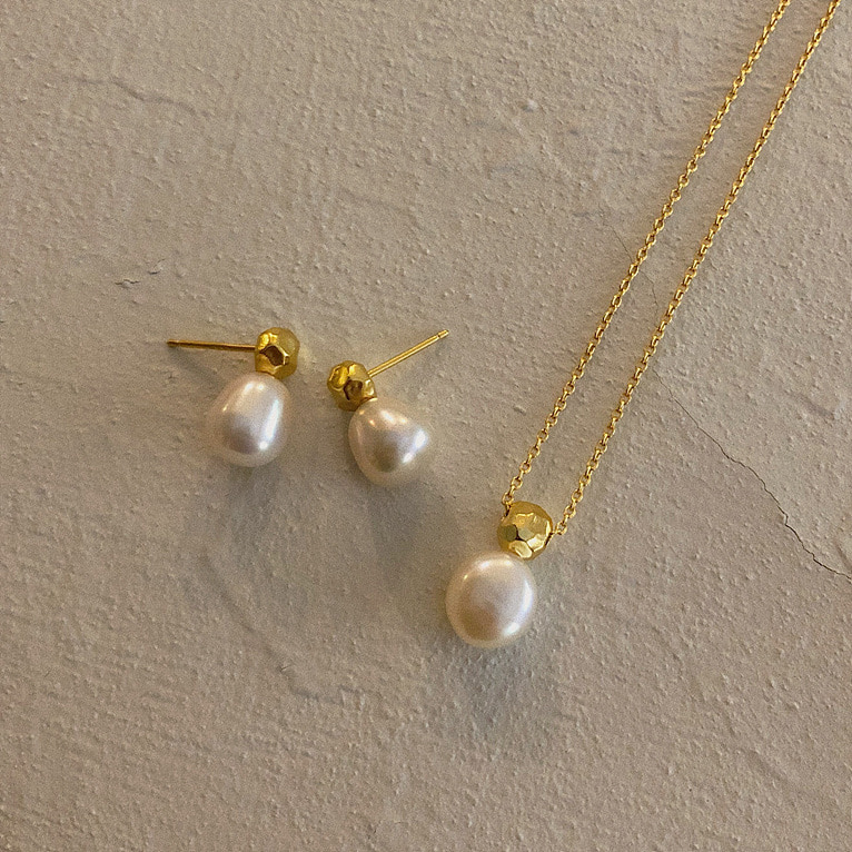 925silver gold ball fresh-water drop necklace